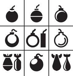 Bombs and rockets icons set vector