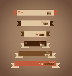 Price tag ribbon sale coupon voucher vintage style vector