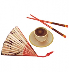 chopsticks  fan and cup vector image