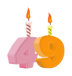 49 years birthday number with festive candle for vector