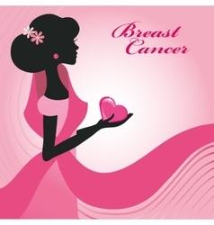 Breast CancerWoman silhouettepink ribon vector image