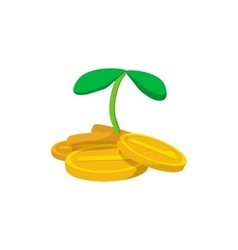 Plant and coins cartoon icon vector