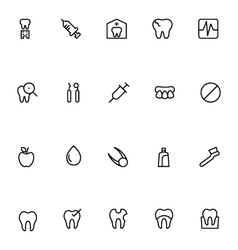 Dental line icons 2 vector