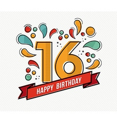 Colorful happy birthday number 16 flat line design vector