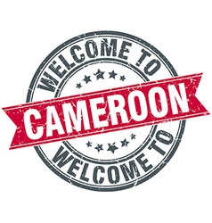 welcome to Cameroon red round vintage stamp vector image