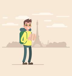 a tourist traveling through paris vector image