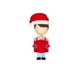 Boy faceless with gift christmas vector