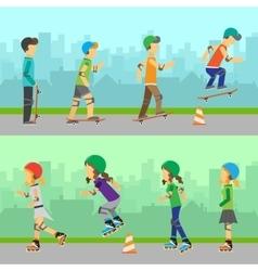 Boys Skateboarding and Girls Roller Skating vector image vector image