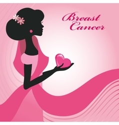 Breast cancerwoman silhouettepink ribon vector