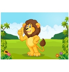 Cartoon lion giving thumb up vector image