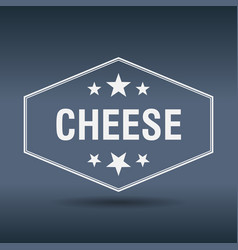 Cheese hexagonal white vintage retro style label vector