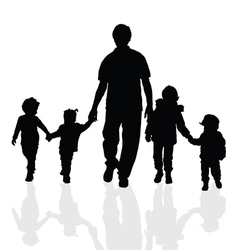 Children with grandfather silhouette vector