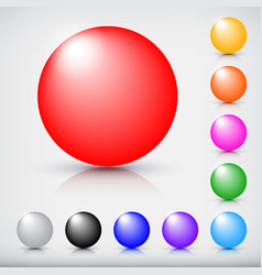 collection of colorful glossy spheres isolated on vector image vector image