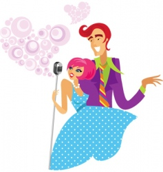 couple with microphone vector image vector image