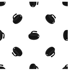 Curling stone pattern seamless black vector