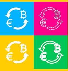 Currency exchange sign euro and bitkoin four vector
