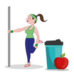 Fitness woman training apple vector
