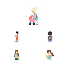 Flat icon parent set of woman mam child and vector