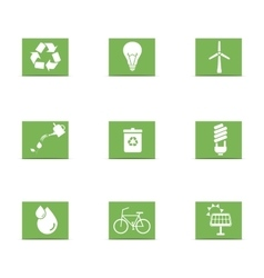 green energy icons set vector image