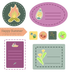 Happy summer camp sticker set vector