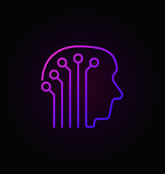 Human head with electronic circuit colorful icon vector