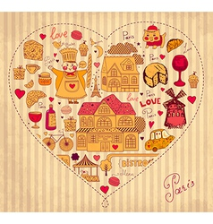 Icons of Paris in a heart vector image vector image