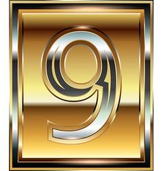 Ingot font number 9 vector