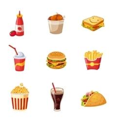 Junk food items set vector