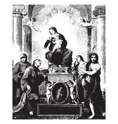 Madonna and saints painting can be found in the vector