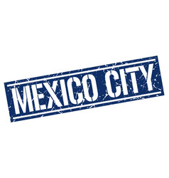 Mexico city blue square stamp vector