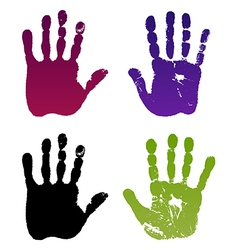Old man four hand prints vector image vector image