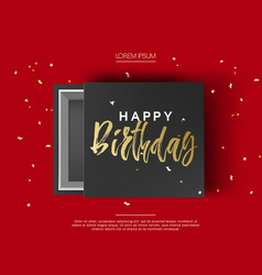 opened black cardboard package mock up box gift vector image