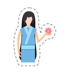 Portrait character japanese woman attire costume vector