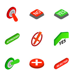 Right and wrong icons isometric 3d style vector