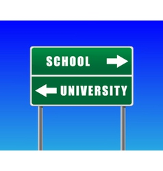 roadsign school university sky background vector image vector image
