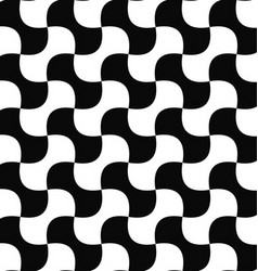 Seamless black white curved shape pattern vector