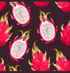 Seamless pattern with dragon fruit vector