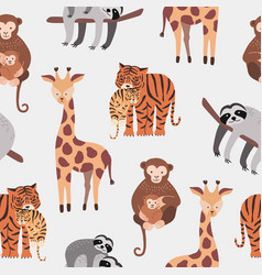 Seamless pattern with various cute and funny vector
