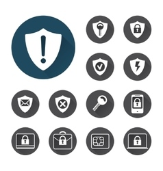 Security icons set with shadows vector image vector image
