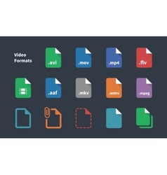 Set of Video File Formats icons vector image vector image