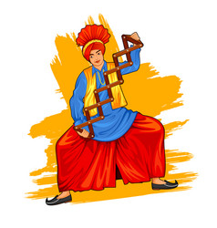 Sikh punjabi sardar doing bhangra dance on holiday vector