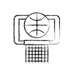sketch draw basket ball in the hoop cartoon vector image