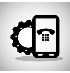 Smartphone gear technology communication telephone vector