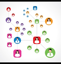 Social network concept with male and female vector image vector image
