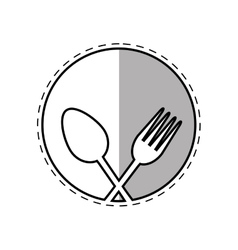 Spoon and fork utensil kitchen label outline vector