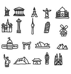 Travel landmarks icon set sketch vector