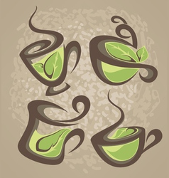Herbal tea collection of cups vector