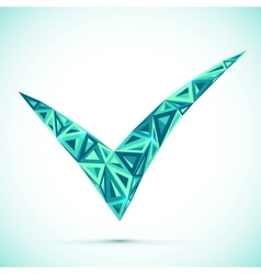 Blue abstract triangles isolated check mark vector image