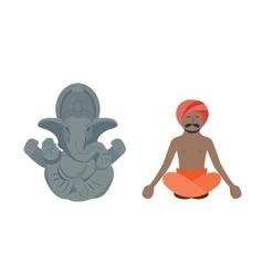 India elephant and budda man vector
