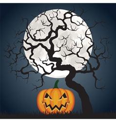 Halloween pumpkin and tree at night vector image